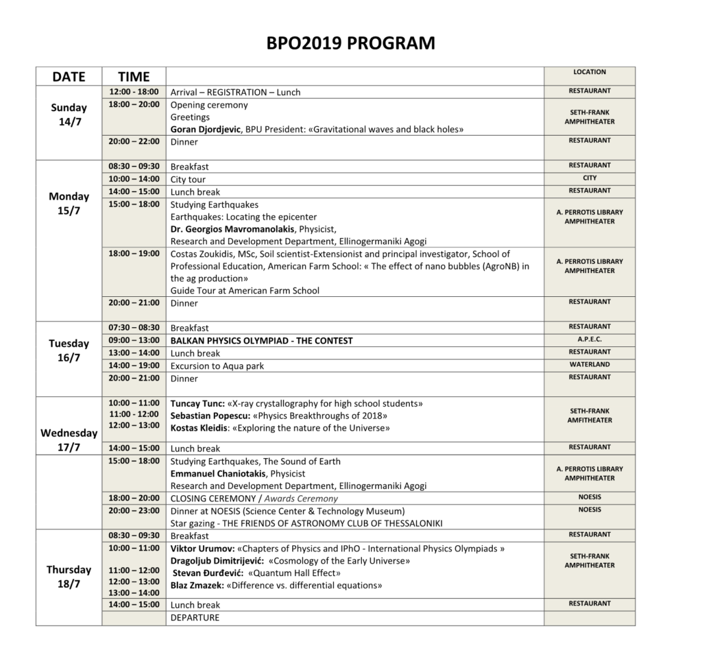 Schedule – BALKAN PHYSICAL UNION
